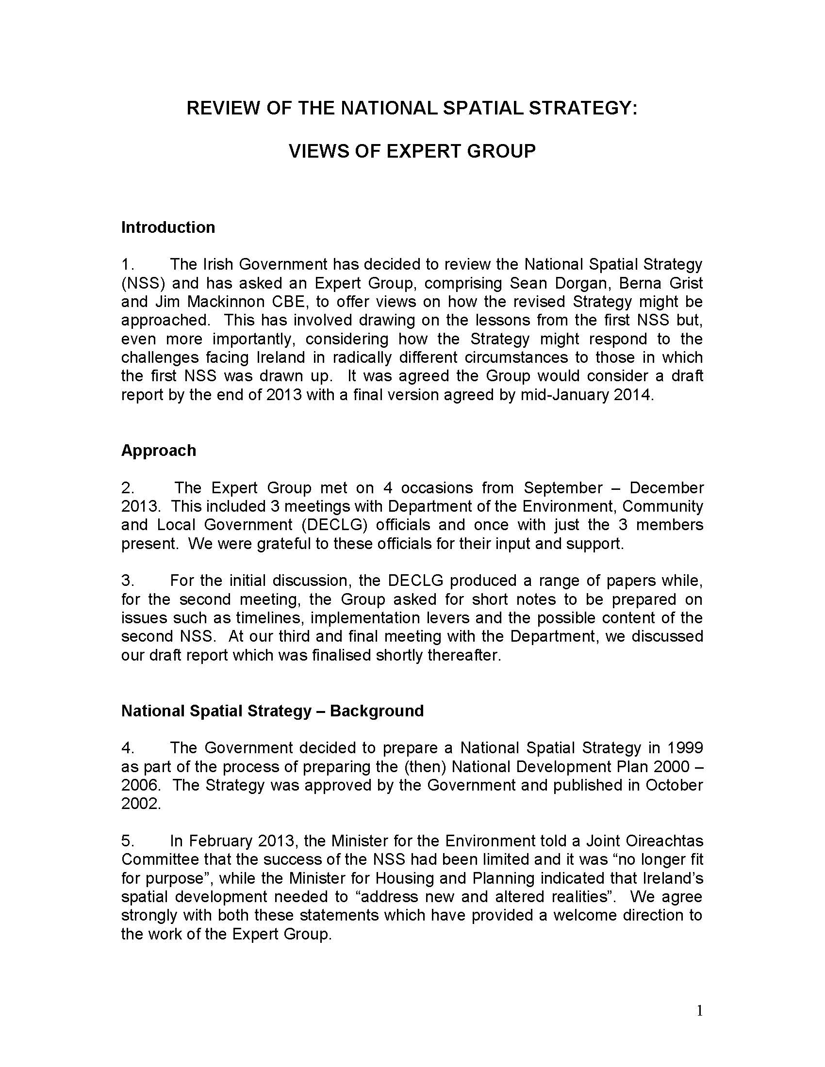 EXPERT GROUP SCOPING REPORT JAN 2014
